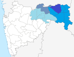 Vidarbha - Dark Blue: Nagpur District Blue: Nagpur Region Grey: Amravati District Light Blue: Amravati Region