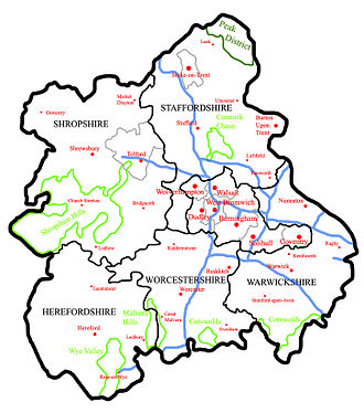 West Midlands (region) - A map of the West Midlands region, showing Towns/Cities in Red, Motorways in Blue, AONBs in  Light Green and National Parks in  Dark Green.