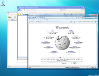 Windows Virtual PC - Internet Explorer versions 6, 7, and 8 run concurrently on a Windows 7 Release Candidate desktop using Windows XP Mode.