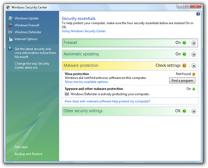 Windows Security Center in Windows Vista, reporting antivirus protection missing