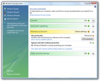 Security and Maintenance - Windows Security Center in Windows Vista, reporting antivirus protection missing