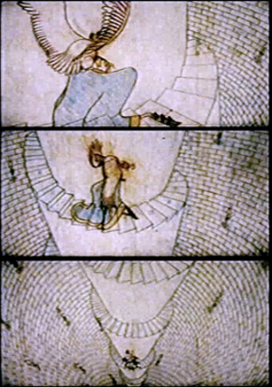 The Thief and the Cobbler - This uncolourised scene is one of many that were animated by hand to move in three dimensions – this was achieved without CGI. It exists only in Williams's original, unfinished version of the film and was cut along with many other ones in the two released versions.