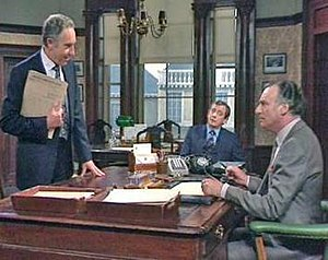 Yes Minister - The three main characters in the Minister's Office of the Department of Administrative Affairs: from left, Sir Humphrey Appleby, Bernard Woolley and Jim Hacker