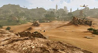 ArcheAge - Typical in-game scenery with player using a glider (upper right corner).