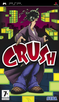 "The game's cover shows the word ""CRUSH"" with the main character, Danny, dressed in a bathrobe and wearing a strange helmet, amid floating blocks of various colors and sizes."