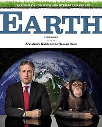 Cover of Earth (The Book); featured is Jon Stewart with a monkey