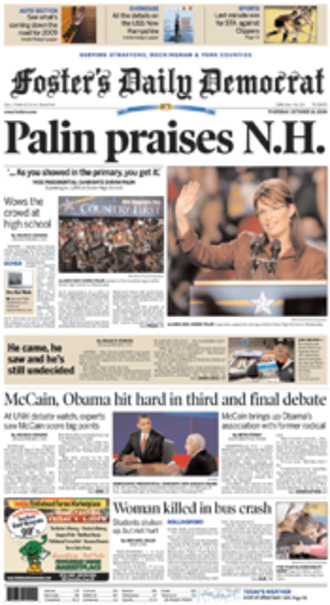 Foster's Daily Democrat - Image: Fosters daily democrat fp