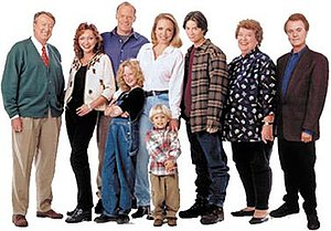 Grace Under Fire - The season 4 characters of Grace Under Fire (from left to right), Floyd, Nadine, Wade, Libby, Grace, Patrick, Quentin, Jean, and Russell.