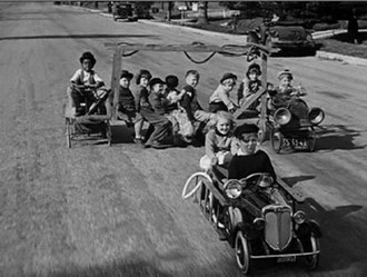 Our Gang - The gang races rich-kid Jerry Tucker in their makeshift fire engine in the 1934 short Hi'-Neighbor!