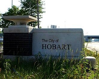 Hobart, Indiana - Hobart welcome sign.
