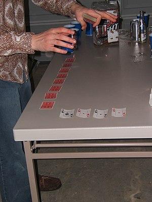 Horserace (drinking game) - Image: Horserace setup