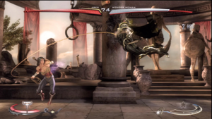Injustice: Gods Among Us - Wonder Woman battles Ares in the Themyscira stage. Injustice features 3D characters and backgrounds, but is played in a 2D arena.