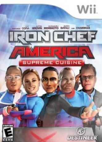 Iron Chef America - Cover for the Wii version of Iron Chef America: Supreme Cuisine