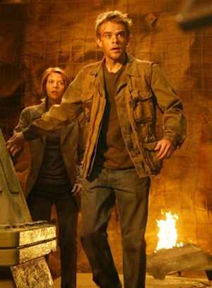 John Connor - Nick Stahl as John Connor in Terminator 3: Rise of the Machines, with Claire Danes as Kate Brewster.