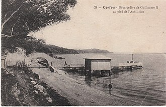 Achilleion (Corfu) - Kaiser's Bridge in 1918, before its destruction by the Wehrmacht, at the feet of the Achilleion
