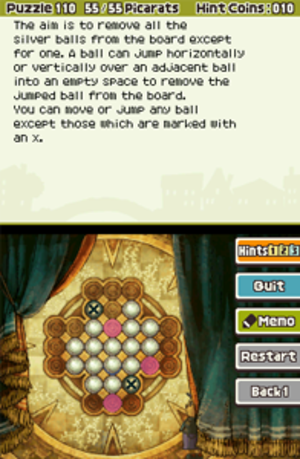 Professor Layton and the Last Specter - Puzzle interface in Professor Layton and the Last Specter. The puzzle is solved via input from the bottom touch screen, while instructions are provided on the top.