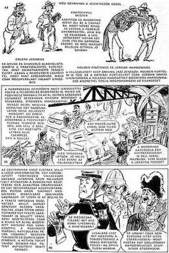 Hungarian comics - A page illustrating adaptational comics with too much textual information (Rejtő/Cs.Horváth/Korcsmáros: A láthatatlan ember)