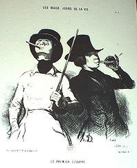 Le Premier Cigarre, Les Beaux Jours de la Vie, by Honoré Daumier.