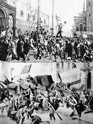 1893 in Italy - Prints reproducing the massacre at Lercara Friddi in December 1893 during the Fasci Siciliani revolt
