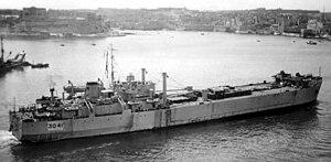 HMS LST 3041 - LST 3041 entering harbour in Malta