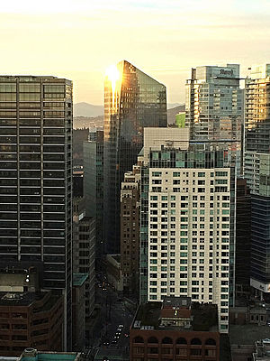MNP LLP - Sunset reflected on MNP Tower in Vancouver