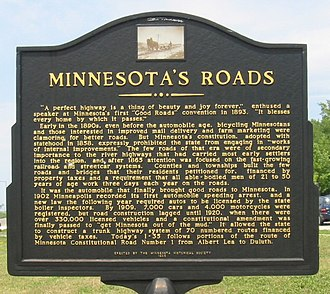 Legislative route (Minnesota) - This sign, at a rest area on Interstate 35 just north of the Iowa border, describes the process that went into creating Minnesota's highway system.