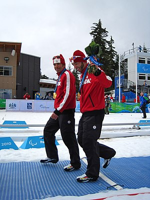 Brian McKeever - Brian McKeever(right) and Robin McKeever after receiving their gold medals at the 2010 Paralympics