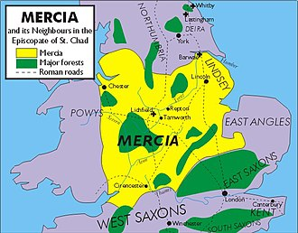 Chad of Mercia - Image: Mercia in time of Chad