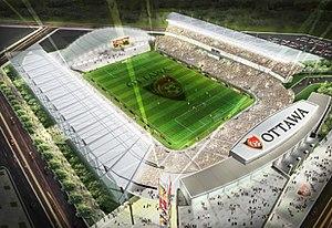 Ottawa Soccer Stadium - Aerial view of proposed stadium