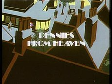 A stylised view of an urban street corner with traffic light. The title, Pennies from Heaven, is centred on the screen.