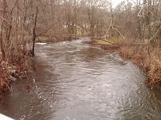 Pequonnock River - Upriver view from the Daniels Farm Road bridge in Trumbull, CT.