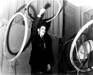 Musique concrète - Pierre Henry using induction coils to control sound spatially.
