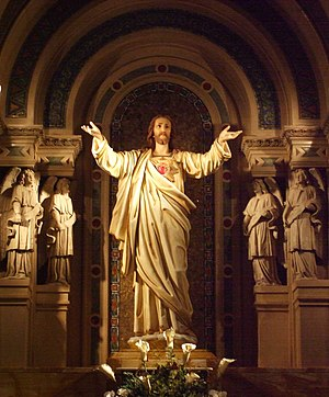 The Sacred Heart Sculpture on the High Altar o...