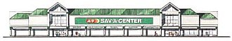 Architectural rendering - Architectural rendering of an A&P Sav-A-Center supermarket plaza, commonly built in Canada and the United States in the 1980s-1990s
