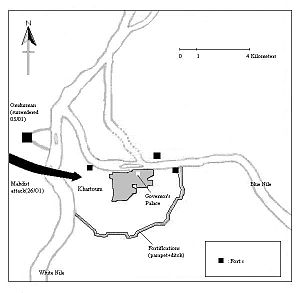 Siege of Khartoum - Map of Khartoum during the siege.