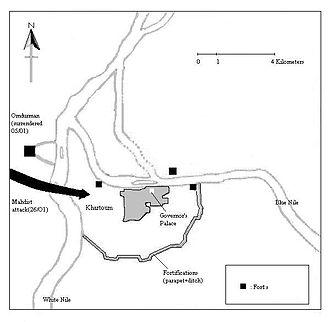 Siege of Khartoum - Map of Khartoum during the siege.