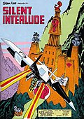 "Page form a comic book depicting a ninja warrior on a small aircraft flying towards an ominous mountain castle, with the words ""Silent Interlude"" in the foreground."