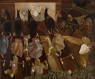 Hall of Remembrance - Travoys Arriving with Wounded at a Dressing-Station at Smol, Macedonia, September 1916 by Stanley Spencer