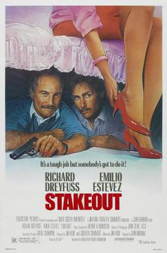 Stakeout (1987 film) - Theatrical release poster by Steven Chorney