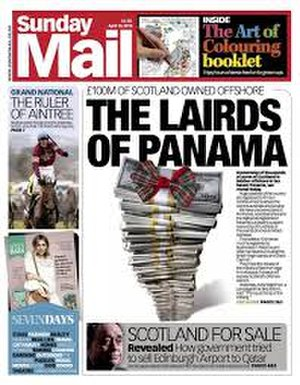 Sunday Mail (Scotland) - Front page on 10 April 2016, reporting on Scottish figures named in the Panama Papers