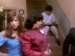 The One with the Prom Video - Aniston, Cox and Schwimmer wore additional costumes and make-up for the prom video scenes.