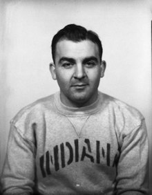 A portrait of Temerario in an Indiana sweatshirt in 1937