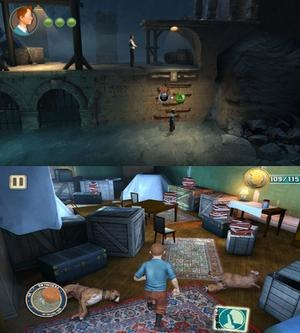 The Adventures of Tintin: The Secret of the Unicorn (video game) - The two different graphical and gameplay styles; the top image shows the 2D platform based nature of the console versions of the game, the bottom image shows the 3D stealth elements of the iOS and Android versions.