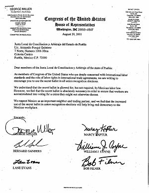 Employee Free Choice Act - Letter to Mexican government officials from the sponsor of H.R.800. Source: Office of Congressman George Miller