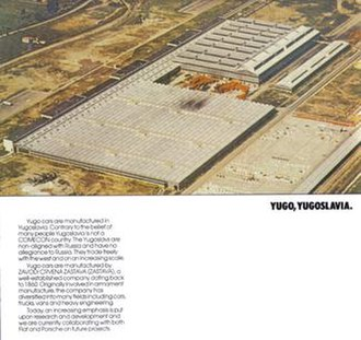 Economy of the Socialist Federal Republic of Yugoslavia - Promotional material depicting the Zastava automobile factory. Particular emphasis was added on making clear Yugoslavia was not aligned with the USSR.