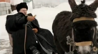 Vladimir Zhirinovsky's donkey video - Zhirinovsky's own presidential election video, featuring him on a sleigh, which was harnessed with a black donkey