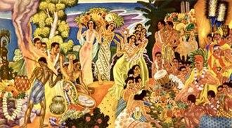 Eugene Savage - 'Island Feast', mural by Eugene Francis Savage, Matson Navigation Company