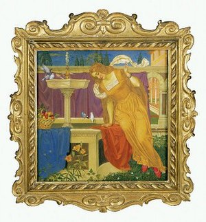 Joseph Southall - Beauty Seeing the Image of her Home in the Fountain (1898), tempera on wood panel
