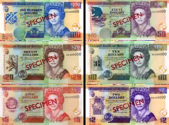 Belize dollar - Image: Belize dollar bills 2003