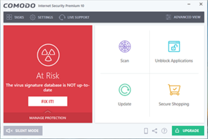 Comodo Internet Security version 10 Premium on Windows 10